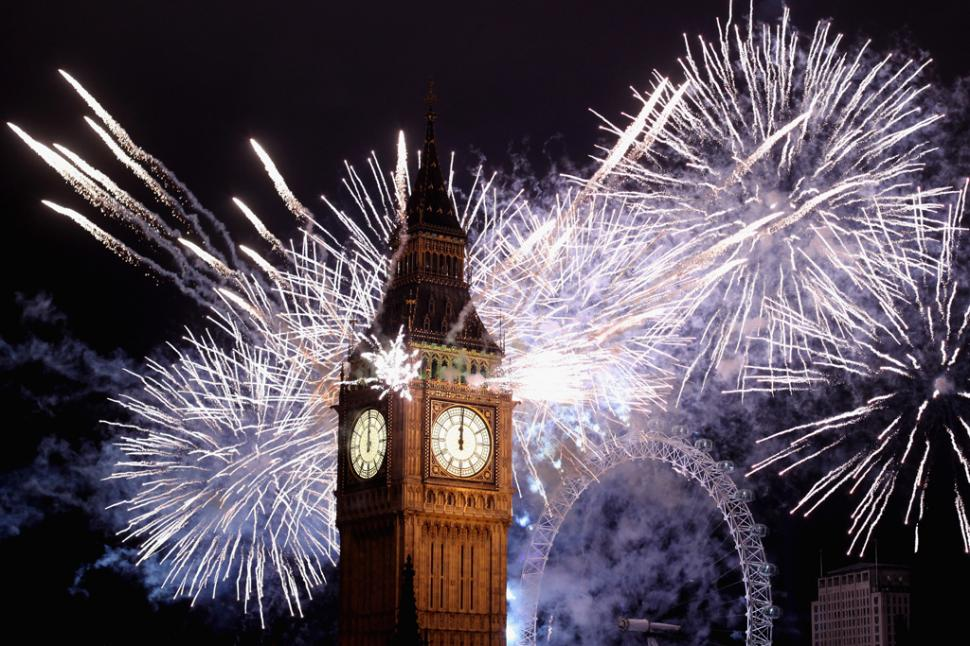 Fuegos artificiales y Big Ben - Foto: fuente desconocida