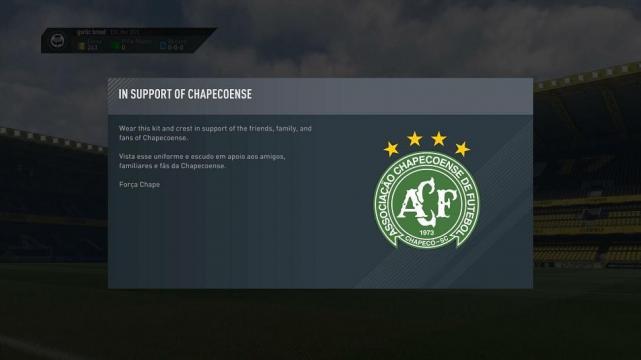 Videojuego FIFA 17 homenajeó al club brasileño de esta forma — Chapecoense