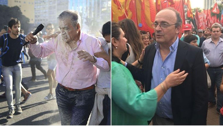 ENFRENTADOS. A la izquierda Julio Bazán cuando era agredido a la derecha Leopoldo Moreau