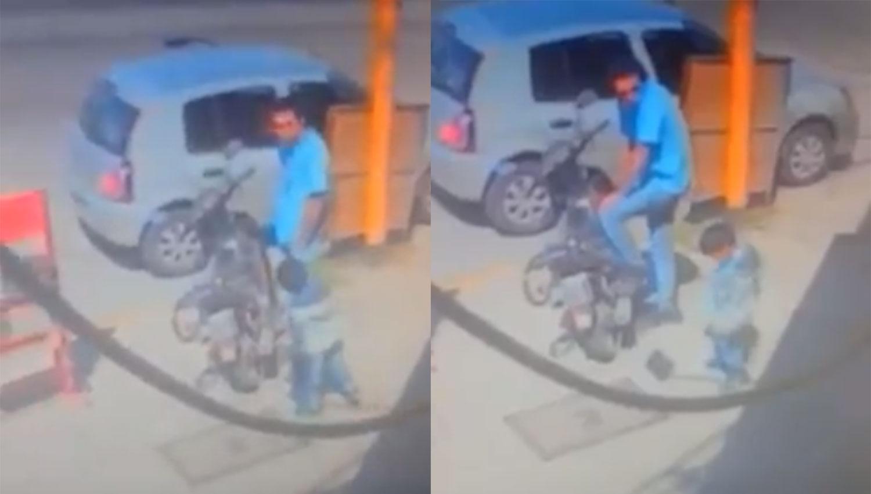 Un motociclista maneja acostado a lo 'Superman' a 130 km/h