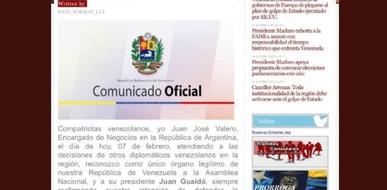 Hackearon la web de la embajada venezolana en argentina for Paginas de espectaculos argentina