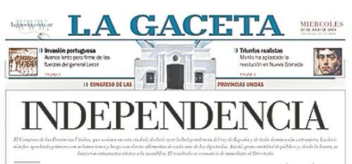 Las noticias del 9 de julio de 1816 la gaceta tucum n for Noticias del espectaculo mexicano del dia de hoy