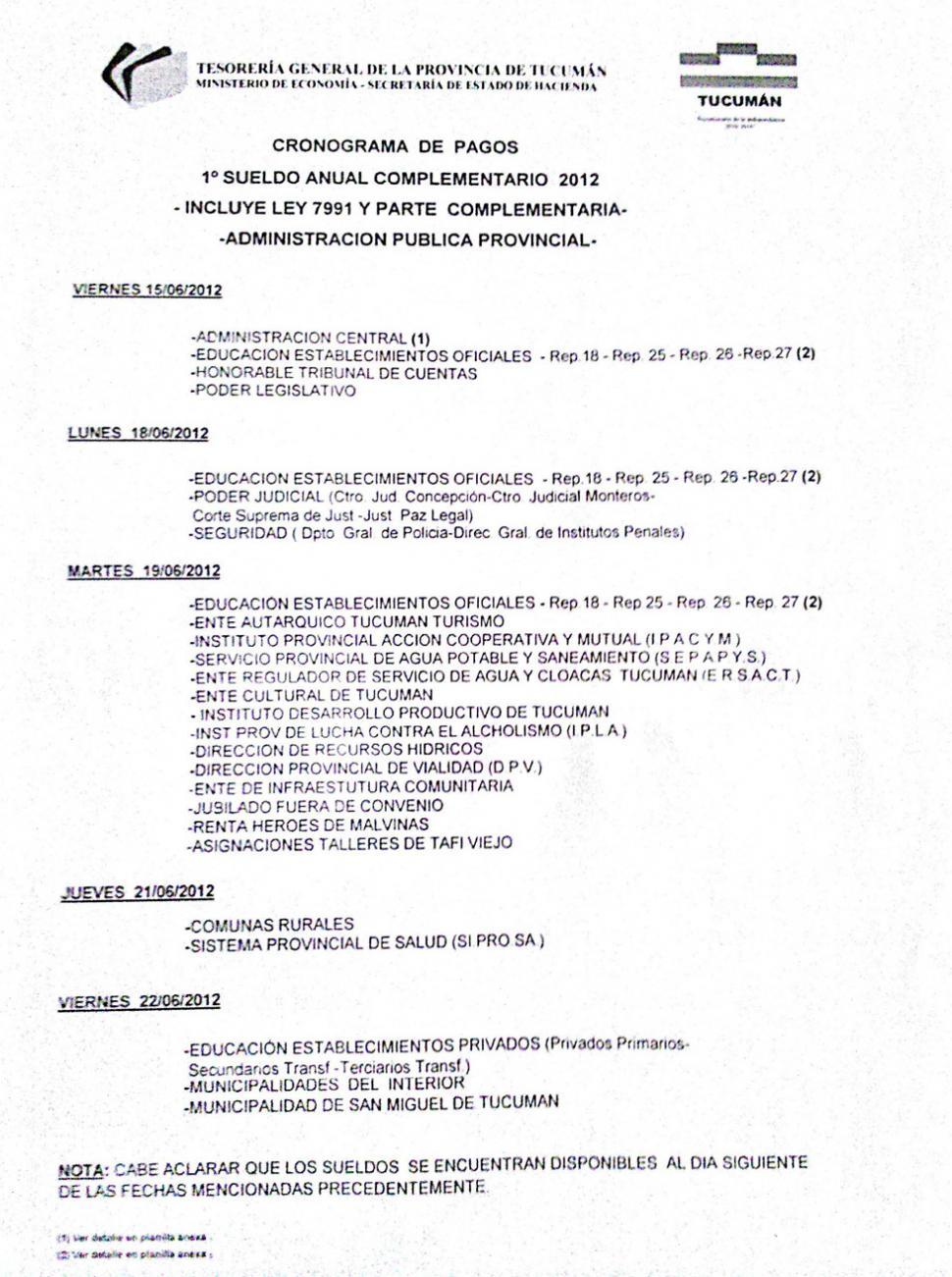 Cronograma de pago del aguinaldo comienza el viernes la for Cronograma de pagos ministerio del interior
