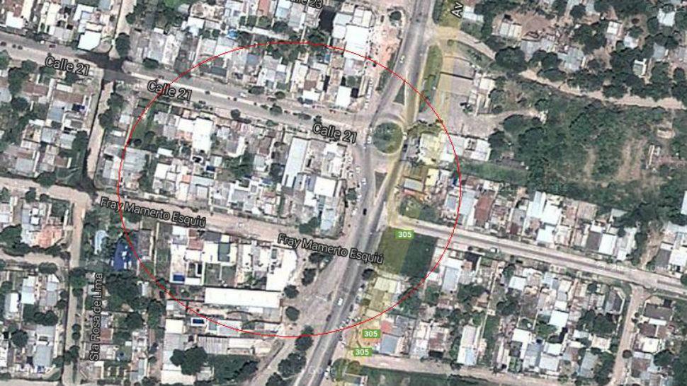 LUGAR. El auto fue visto  en la rotonda del barrio Soeme, en la ruta 305 y avenida Francisco Solano. GOOGLE MAPS