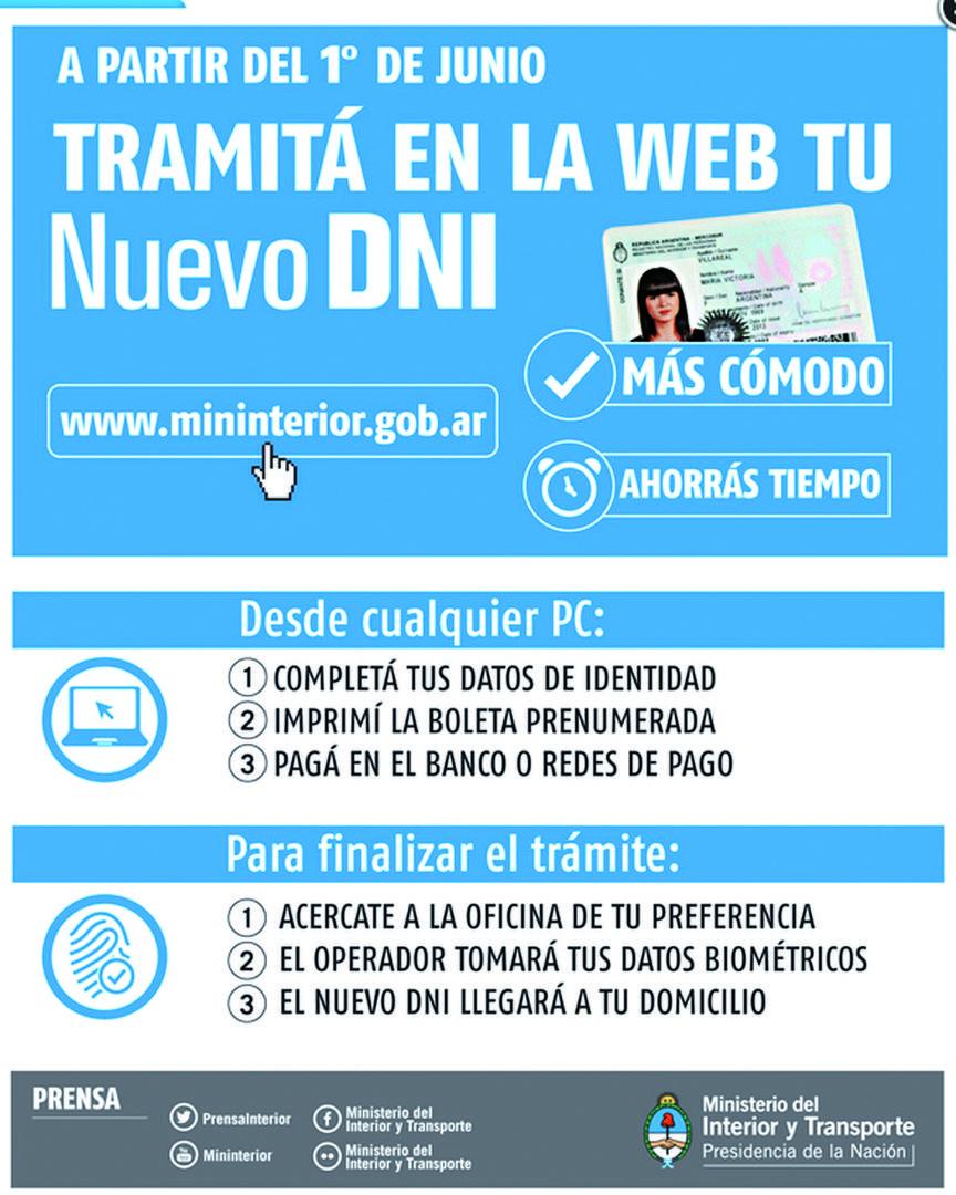 Paso a paso c mo tramitar el nuevo dni por internet la for Ministerio del interior y transporte de la nacion