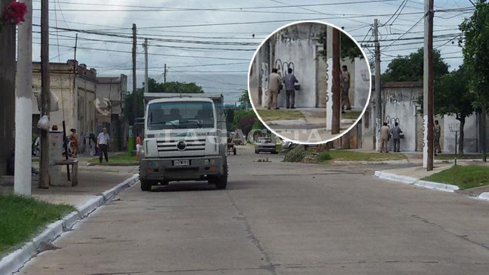 Utilizan un camin de la Municipalidad para pintar Amaya 2015