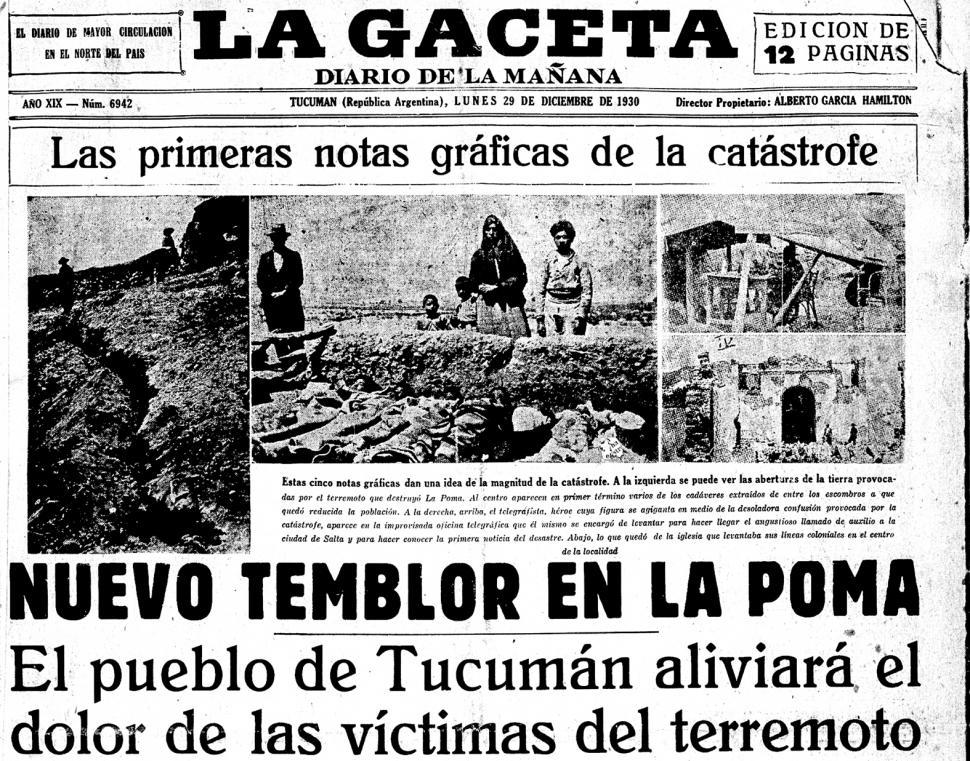 un feroz sismo destruye el pueblo de la poma durante la navidad de 1930 la gaceta tucum n. Black Bedroom Furniture Sets. Home Design Ideas