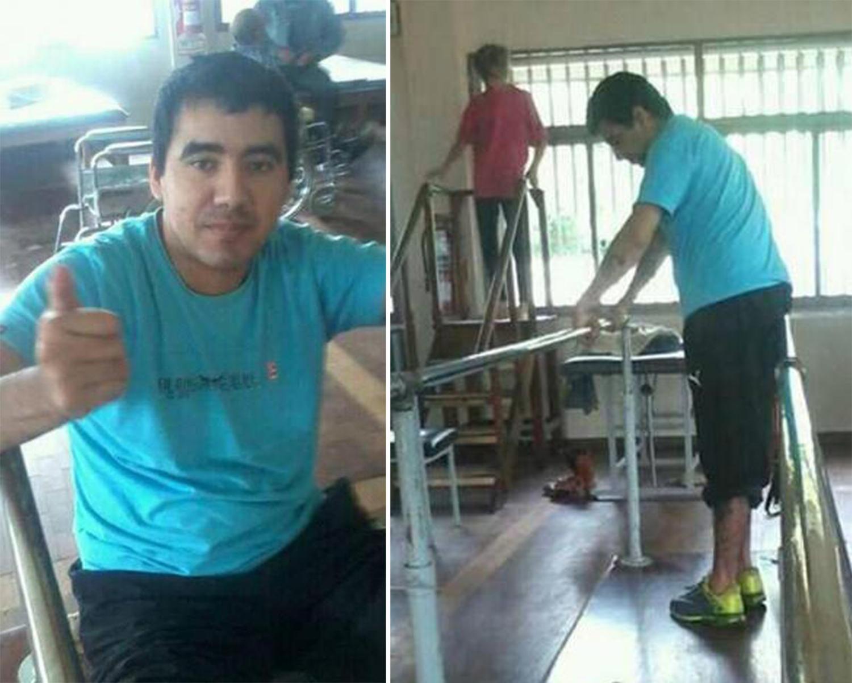 Juan Francisco, durante una de las sesiones de rehabilitación. FOTO TOMADA DE FACEBOOK.