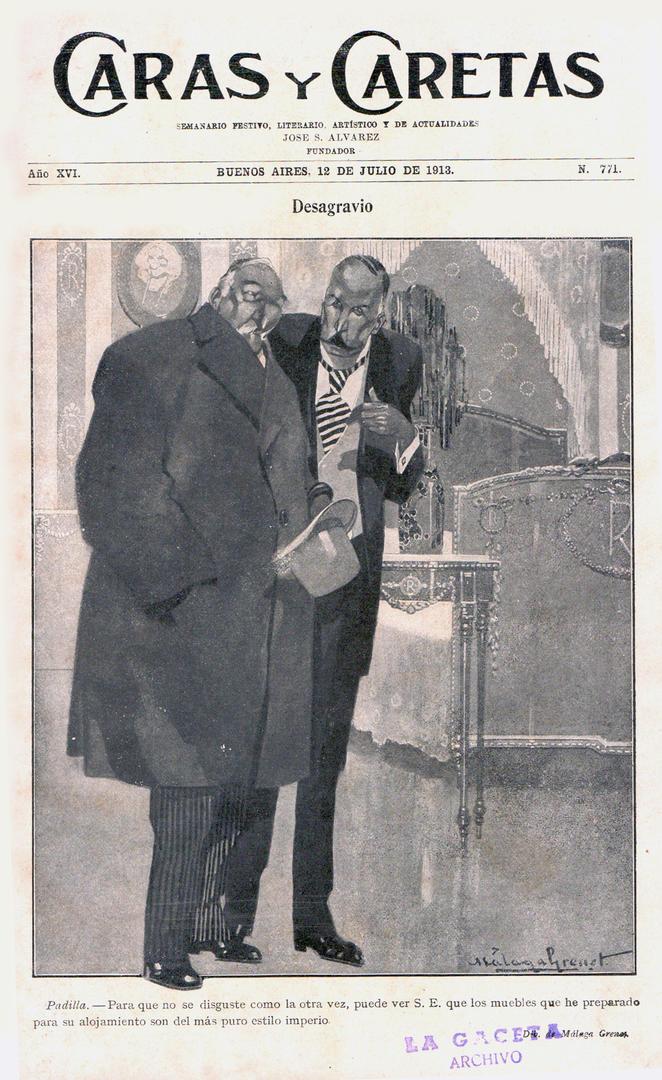 HACE UN SIGLO. En la viñeta de 1913, el gobernador Ernesto Padilla (asumió ese año) le muestra a Roque Sáenz Peña los muebles de Casa de Gobierno, que cambió para alojarlo. El Presidente, cuando venía a Tucumán, dormía allí.