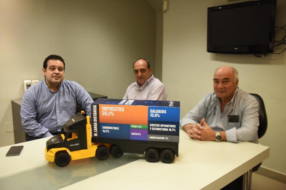 """EN LA GACETA. Díaz Gil, Gargiulo y Casal trasladaron """"el camión de los costos"""" para ejercer la actividad. la gaceta / foto de osvaldo ripoll"""