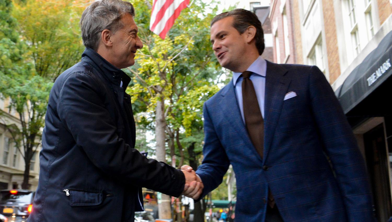 PRIMER CONTACTO. En el inicio de una gira por Nueva York, Macri se reunió con el alcalde Di Blasio para homenajear a las víctimas del atentado. TÉLAM