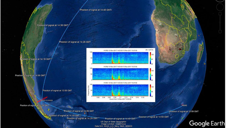 POSICIÓN DE LA EXPLOSIÓN. Desde la organización compartieron los registros del 15 de noviembre en la posición del ARA San Juan.