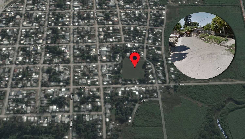 EN LA CANCHA. El cuerpo de la víctima quedó tendido en el predio conocido como Villa Alem. FOTO TOMADA DE MAPS.GOOGLE.COM