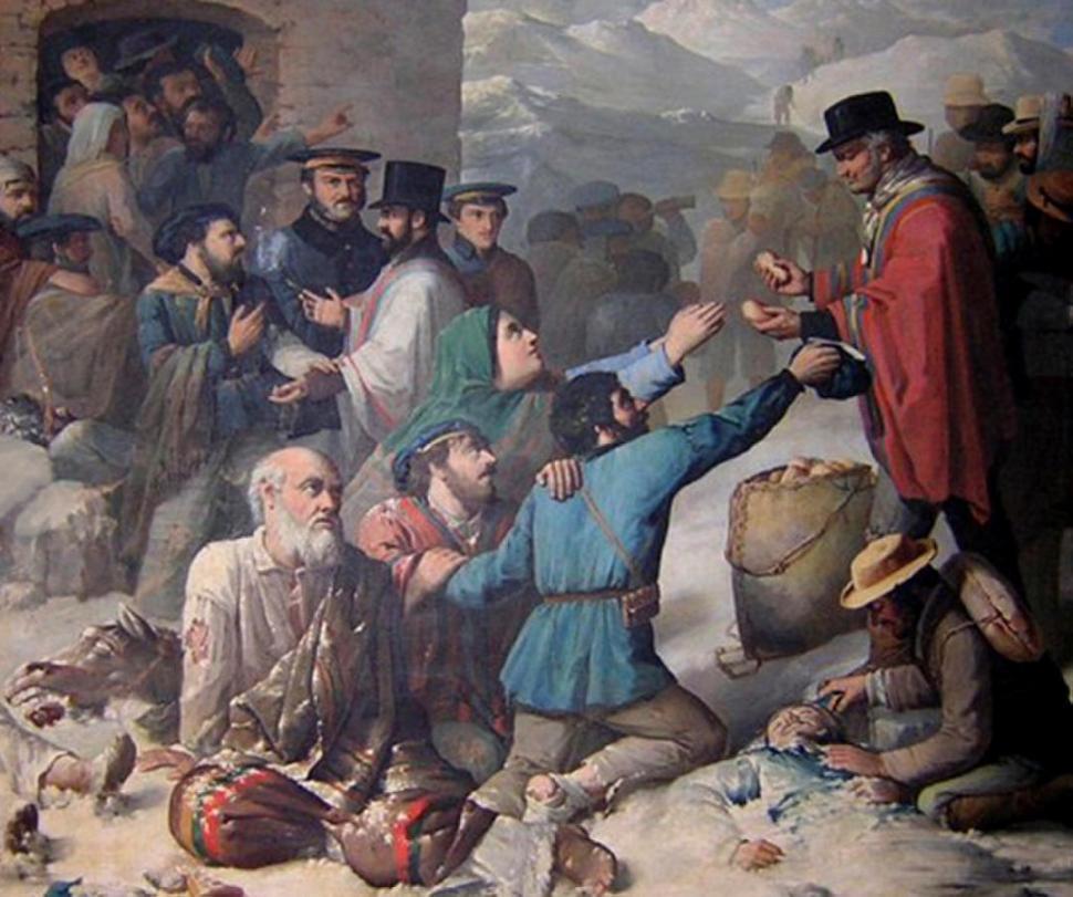 SOBREVIVIENTES DE RODEO DEL MEDIO. Entre ellos estaba Ignacio Bringas. En el cuadro de Benjamín F. Rawson, aparece Sarmiento auxiliándolos en la huida a Chile.