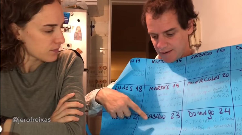 VIRALES .La pareja del Mundial hablando sobre los partidos .FOTO CAPTURA DE VIDEO.