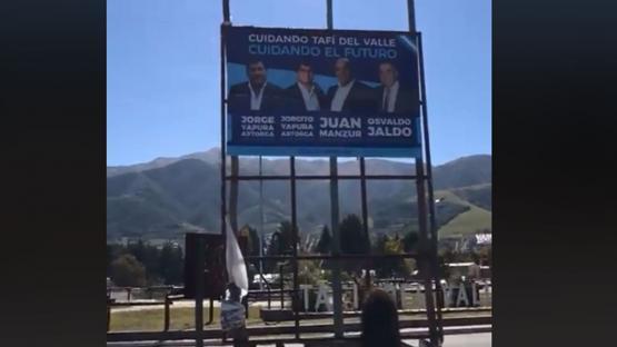 Se viralizó un video que muestra el paisaje de Tafí del Valle tapado por propaganda política