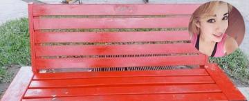 Vandalizaron el banco rojo que recordaba a Ornella Dottori en Alberdi
