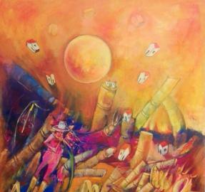 Artes visuales: en su taller santiagueño, un artista tucumano sueña con la zafra