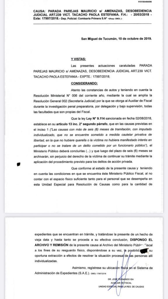 FACSÍMIL. La decisión de archivo del 10/10/19 con la firma del auxiliar Isa.