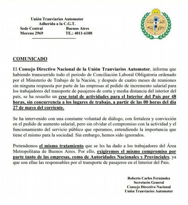 La UTA lanzó un paro por 48 horas desde mañana — Sin colectivos