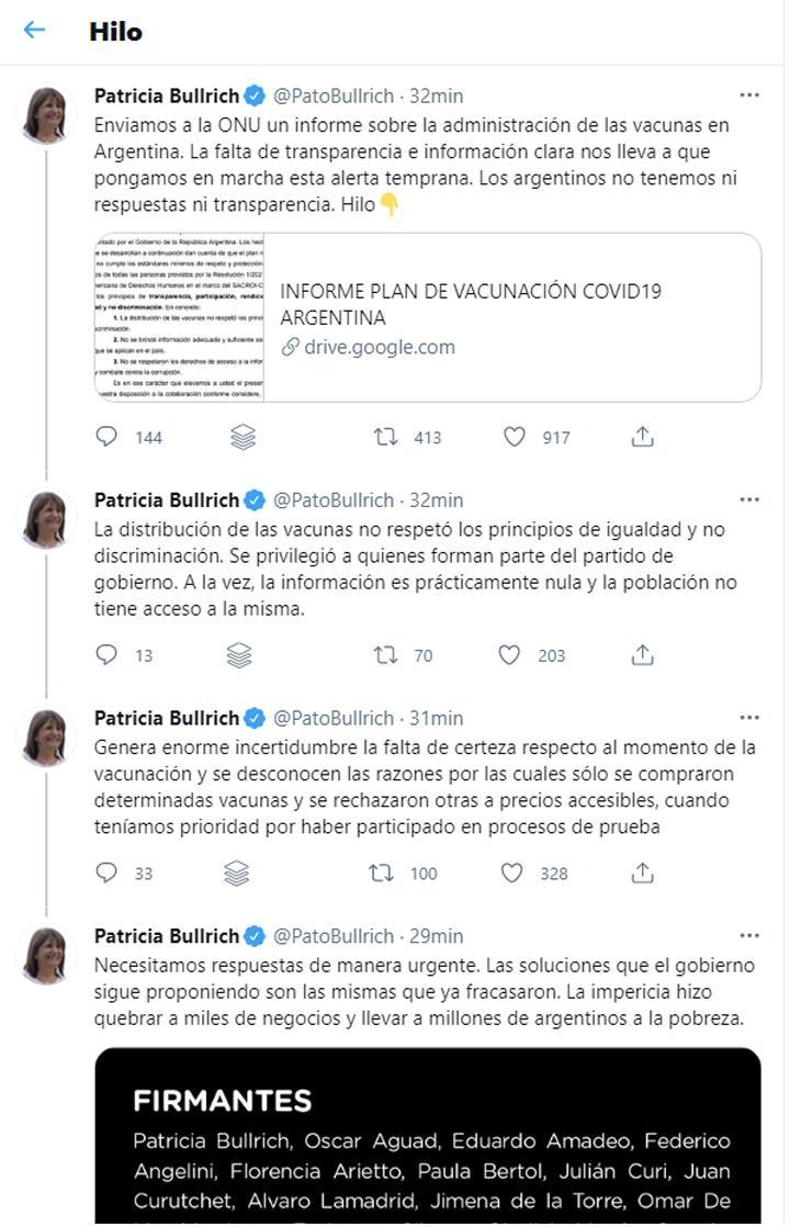patricia bullrich denuncio ante onu irregularidades vacunacion argentina 896721 154618