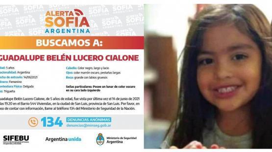 Alerta nacional por Guadalupe, la nena de 5 años que desapareció en San Luis